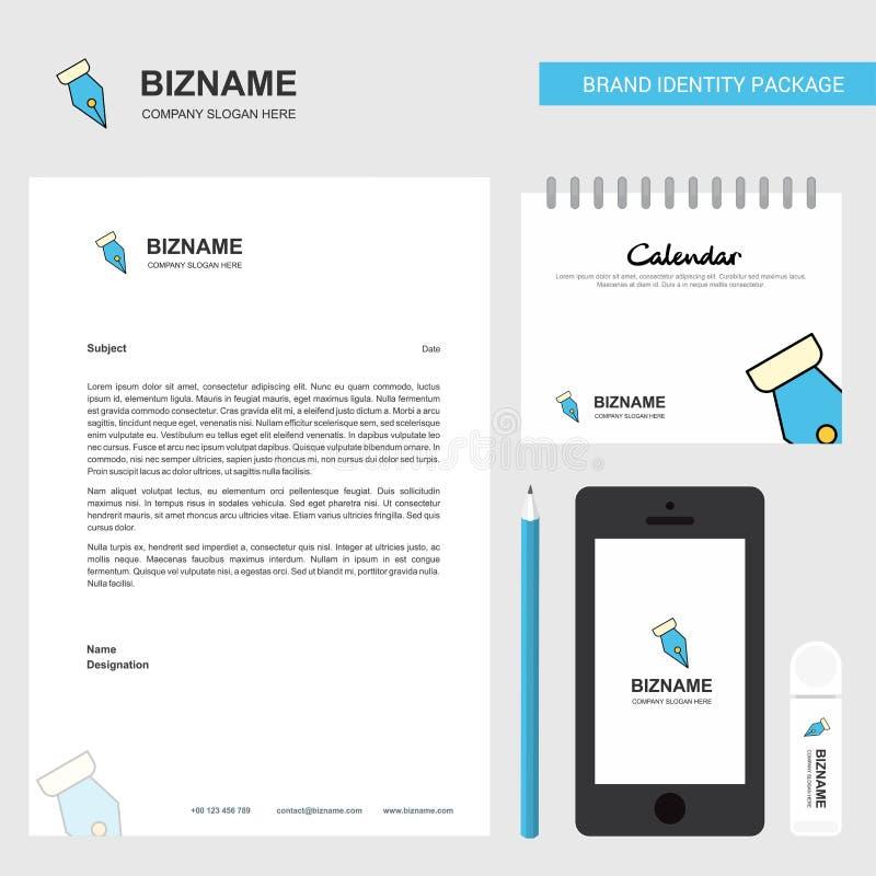 Pen nib Business Letterhead, Calendar 2019 и векторный шаблон проектирования мобильных приложений иллюстрация вектора