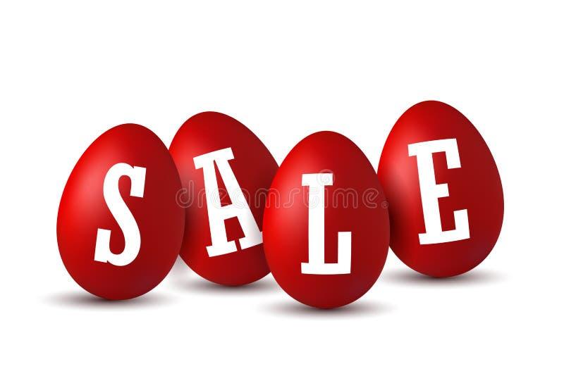 Verkoop van paaseitekst Happy Easter-eitjes 3D-sjabloon geïsoleerd op witte achtergrond Ontwerpbanner, wensposter stock illustratie