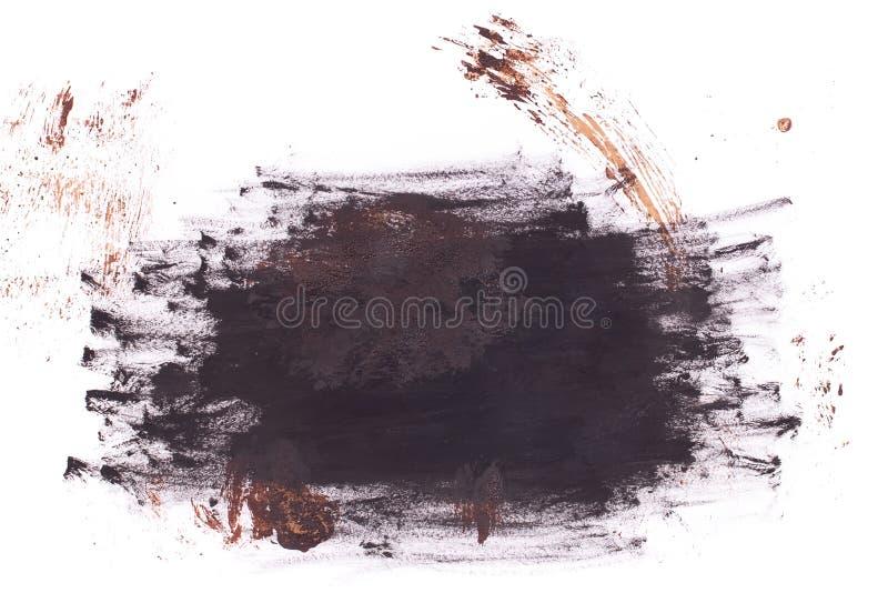 Schwarzer und brauner Fleck auf weißem Grund isoliert Realistische Textur der Aquarellpinsel Aquarellzeichnung lizenzfreie stockfotos