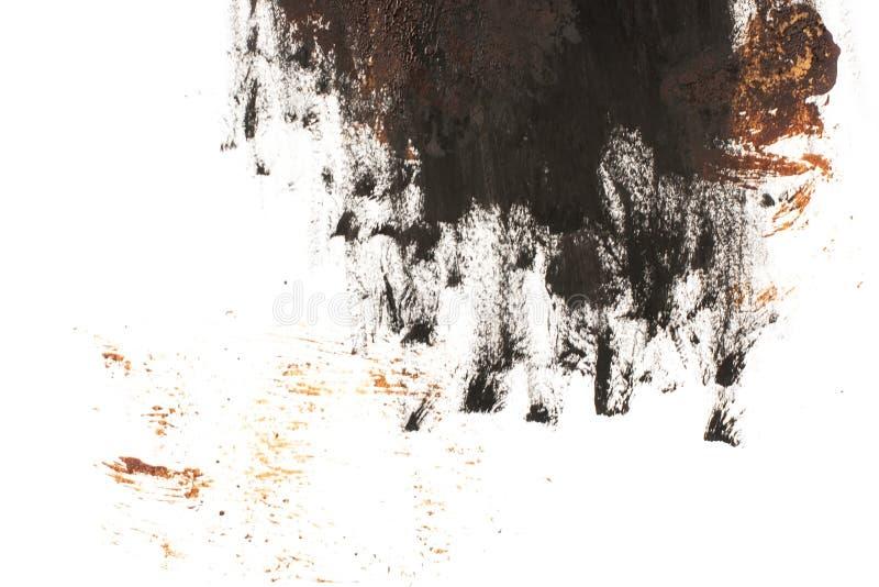 Schwarzer und brauner Fleck auf weißem Grund isoliert Realistische Textur der Aquarellpinsel Aquarellzeichnung lizenzfreie stockfotografie