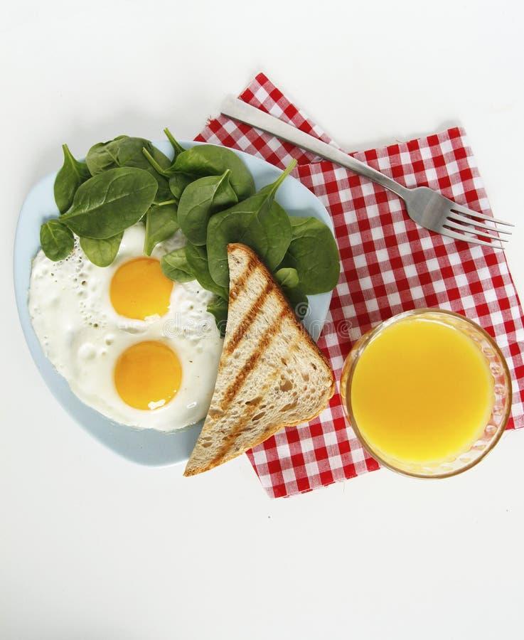 早餐顶视图 E 免版税库存图片