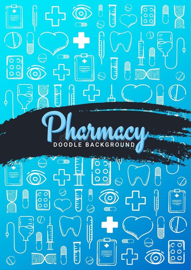 涂鸦背景的药学与医学 丸剂、维生素片剂、药物 矢量图 向量例证