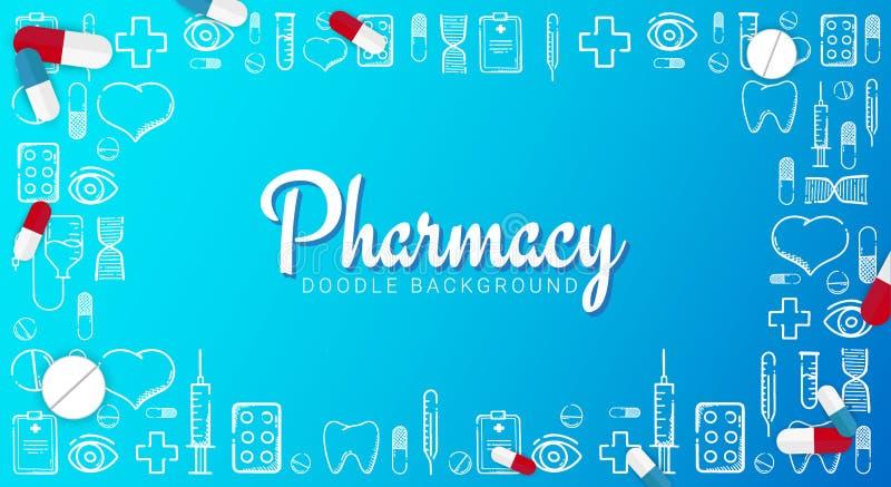 涂鸦背景的药学与医学 丸剂、维生素片剂、药物 矢量图 库存例证