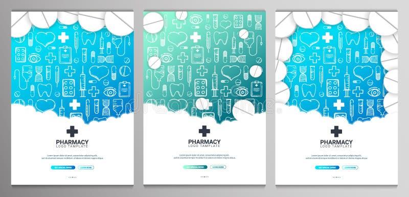 涂鸦背景的药品和医学横幅 丸剂、维生素片剂、药物 矢量图 库存例证