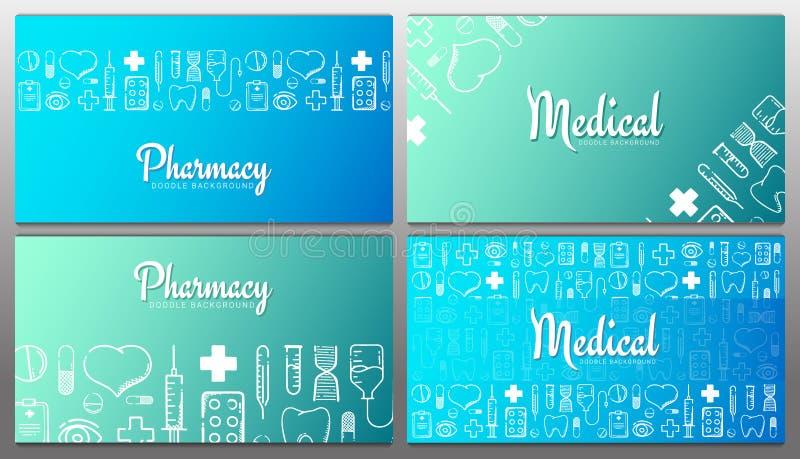 涂鸦背景的药品和医学横幅 丸剂、维生素片剂、药物 矢量图 向量例证