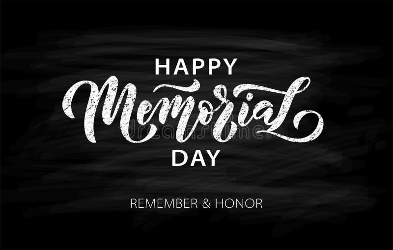 纪念日 记住和荣誉 美国纪念日用星标手写文字 库存例证