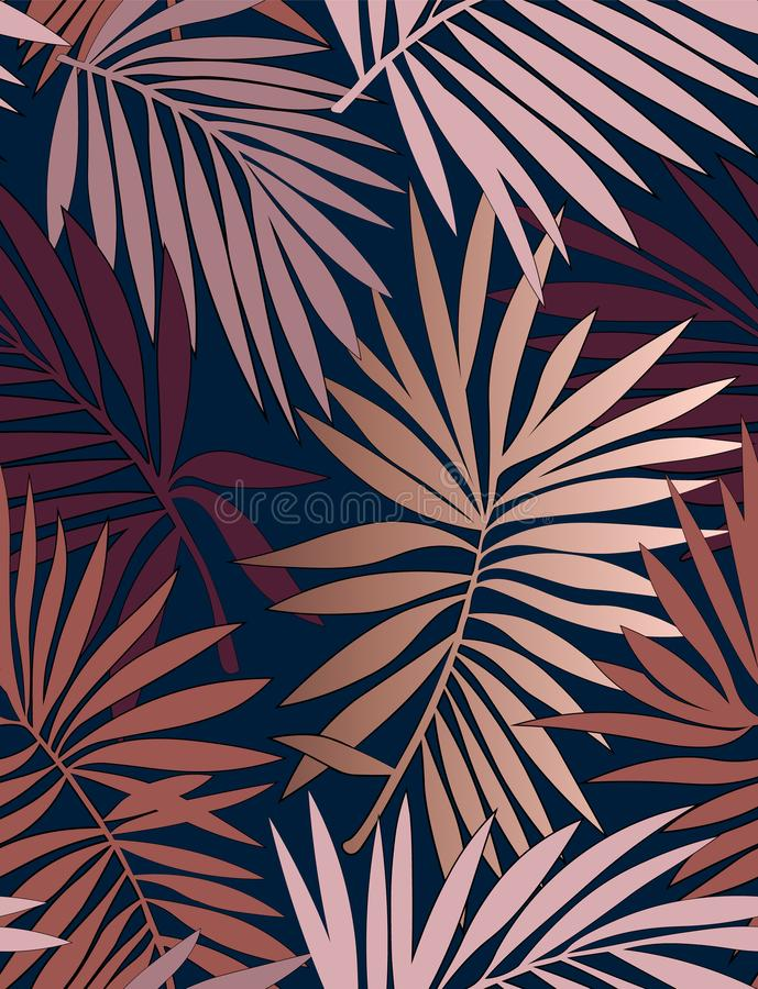 Тропическая безшовная картина с листьями иллюстрация вектора