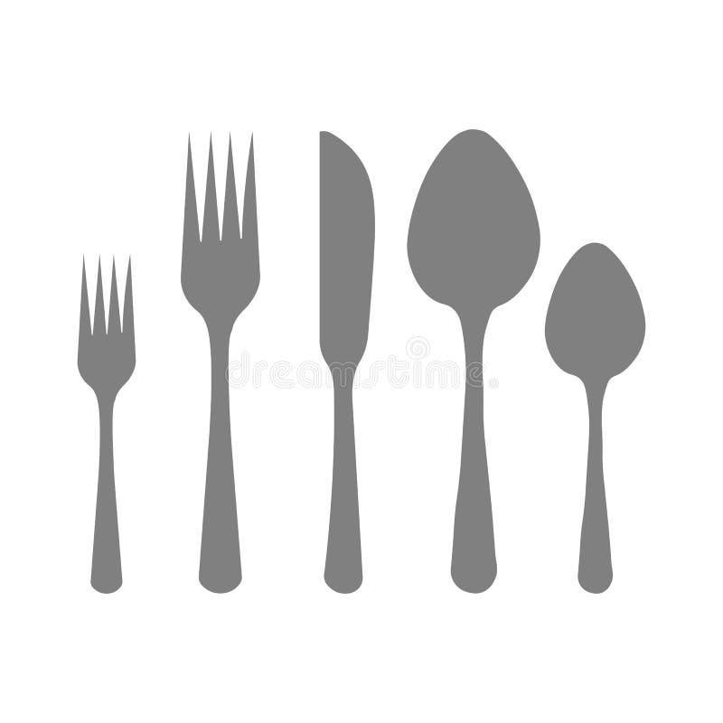 E 匙子,刀子,叉子 库存例证