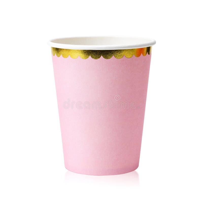 E 纸杯或空白的杯子您的设计的 r 免版税库存图片