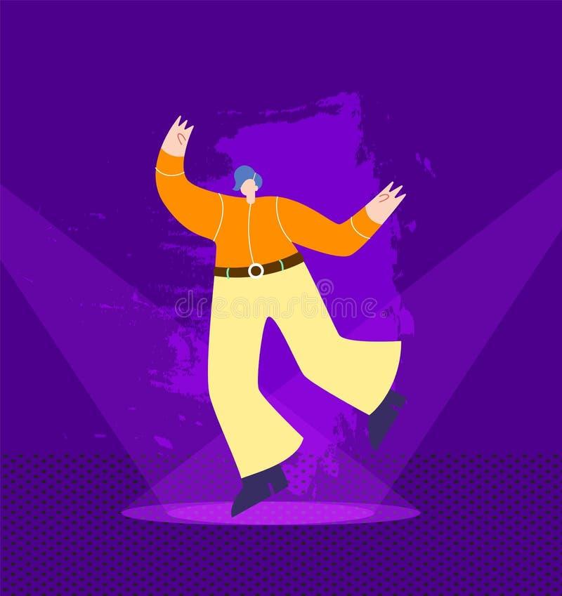 牛仔成套装备的跳舞的人在夜总会阶段 皇族释放例证