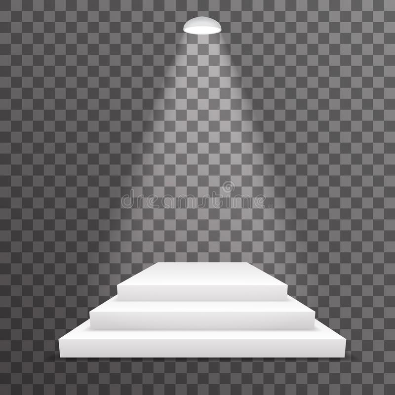 平实奖垫座胜利成就指挥台被照亮的场面点燃了地方优胜者仪式3d现实模板传染媒介 库存例证