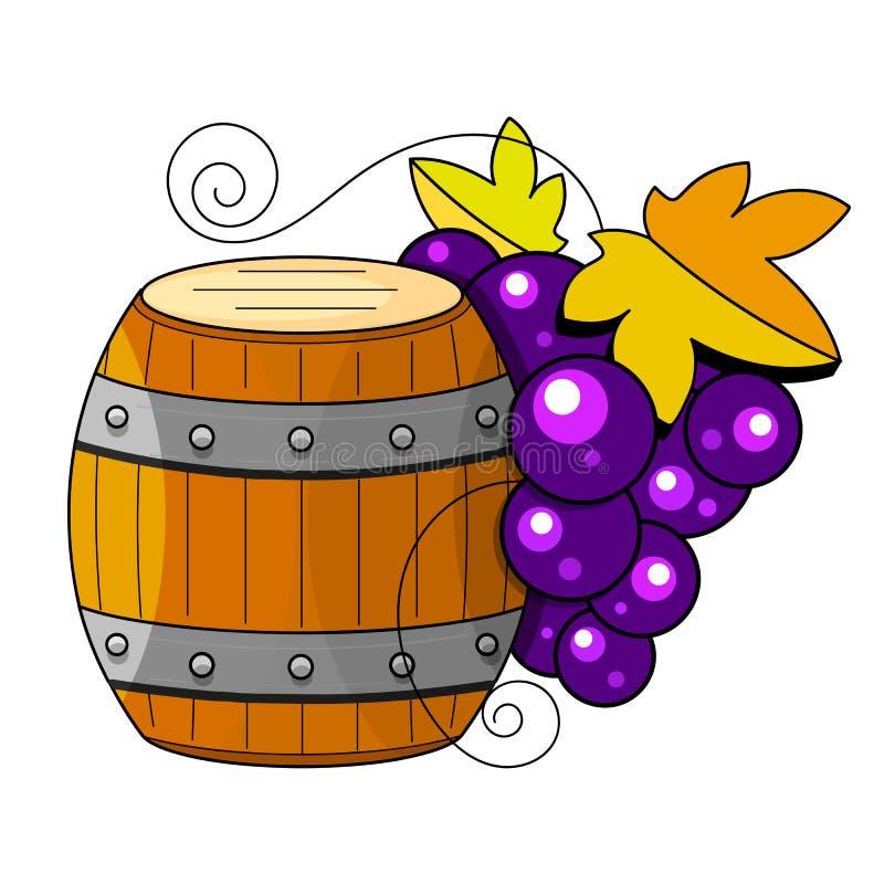 在剪影样式的葡萄酒酿造产品 E r 皇族释放例证