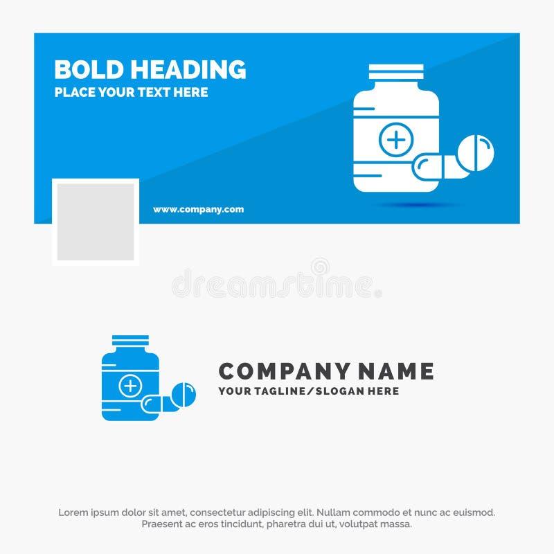 用于药品、药丸、胶囊、药品、片剂的蓝色商标模板 Facebook时间轴横幅设计 矢量Web标志 皇族释放例证