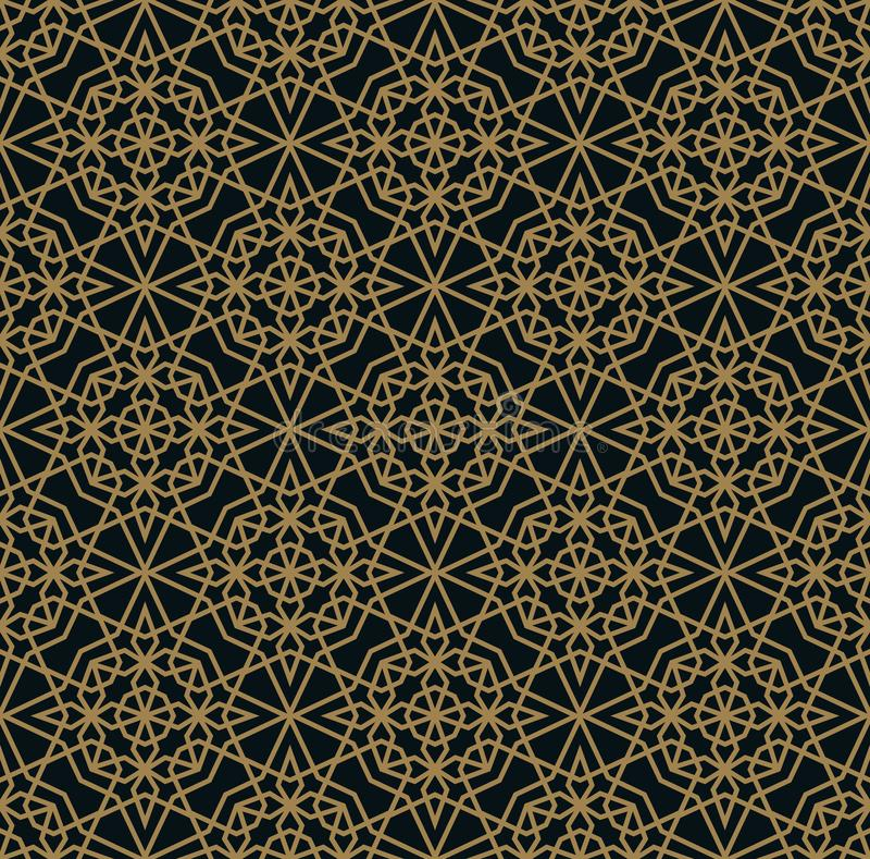 矢量现代几何拼图 金线 抽象艺术装饰的无缝奢华背景 库存例证