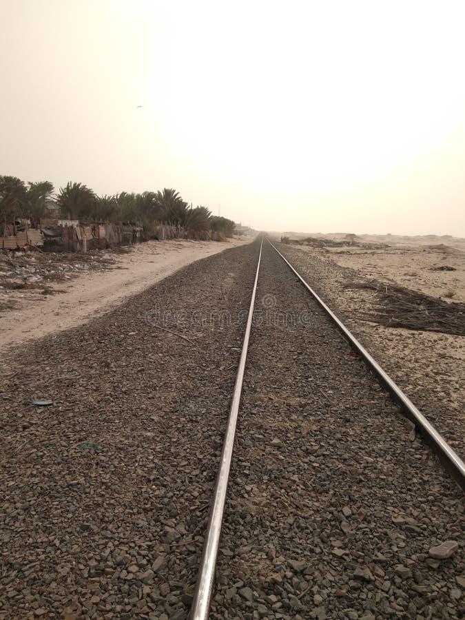 铁路绿洲沙漠 免版税库存照片