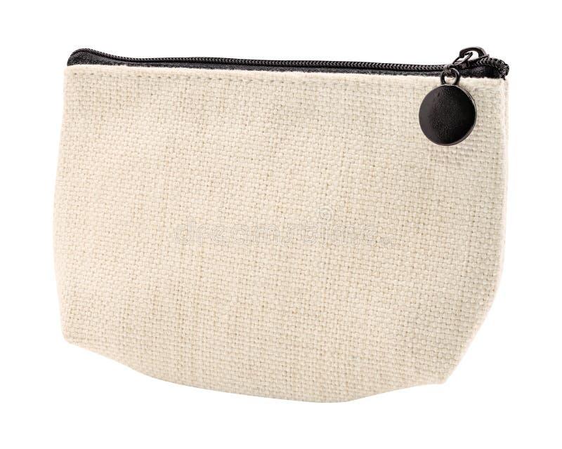 白色背景隔离的坯布袋 亚麻织物材料拉链袋 剪切路径 免版税库存图片