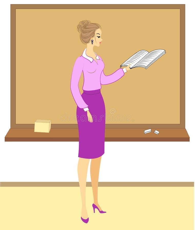 Όμορφος νέος δάσκαλος Το κορίτσι κάθεται στο τραπέζι κοντά στο παράθυρο Μια γυναίκα γράφει σε ένα ημερολόγιο της τάξης Εικόνα δια διανυσματική απεικόνιση