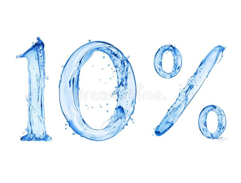 第10和百分号用水飞溅做了,被隔绝在白色背景 库存图片