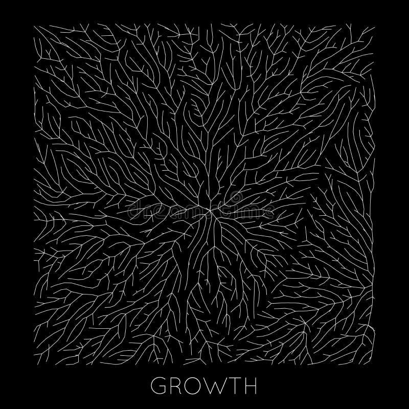 Tillväxtmönster för vektorgenererande gren Lichen som organisk struktur med vener Monokromt kvadratiskt biologiskt nät av vektor illustrationer