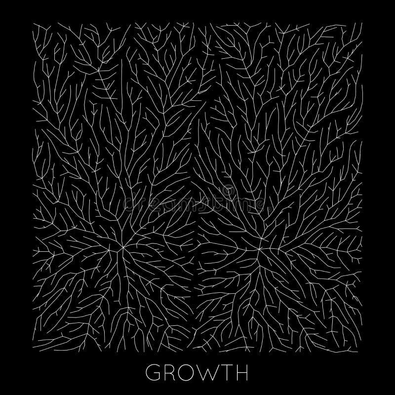 Tillväxtmönster för vektorgenererande gren Lichen som organisk struktur med vener Monokromt kvadratiskt biologiskt nät av stock illustrationer