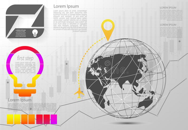 现代矢量抽象阶标信息图元 可用于全局网络连接 世界地图点和线 矢量 向量例证
