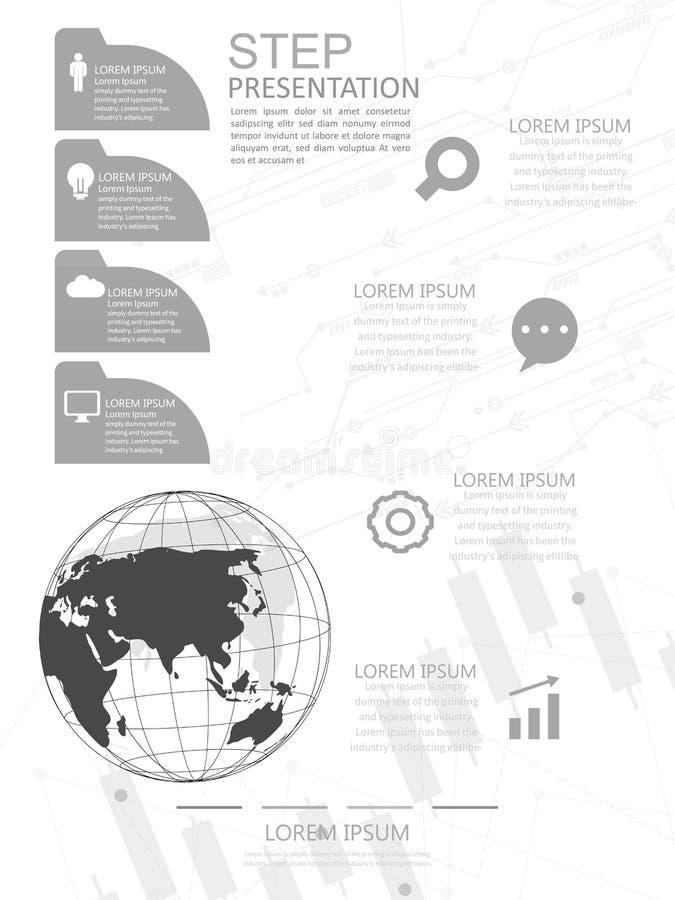 现代矢量抽象阶标信息图元 可用于全局网络连接 世界地图点和线 矢量 库存例证