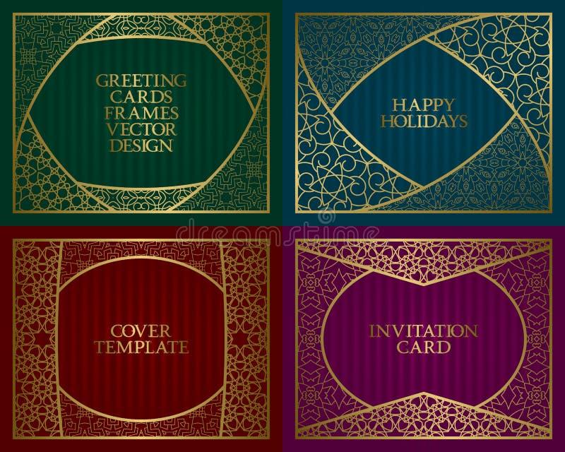 Goldener Rahmen Vintage-Design der Grußkarten-Hintergründe im asiatischen traditionellen Stil Broschüre, Albumüberzug lizenzfreie abbildung