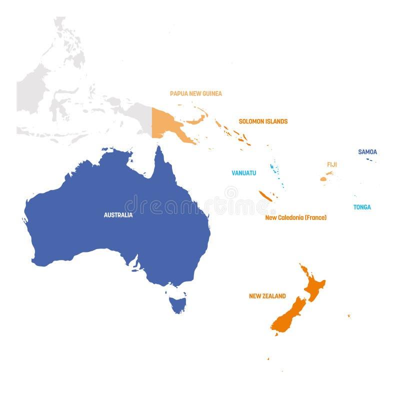澳大利亚和大洋洲区 南太平洋国家地图 矢量图 向量例证