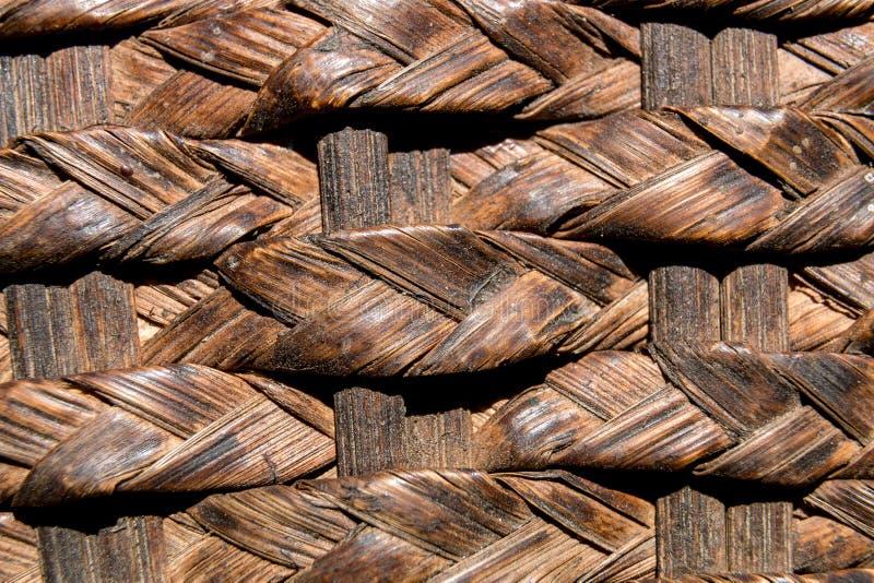 天然编织藤纹背景 顶视图 平铺 免版税库存图片