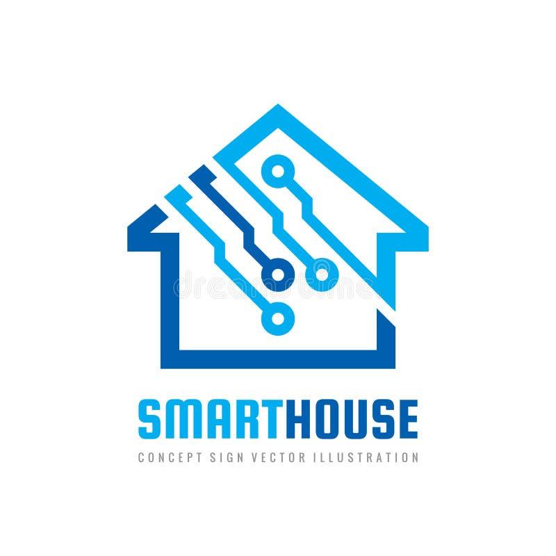 Plantilla de diseño de logotipo de la casa inteligente Signo vectorial de compilación Icono de tecnología electrónica digital dom stock de ilustración