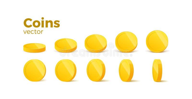 白色的3D真实金币 白人与金钱隔绝 矢量图 库存例证