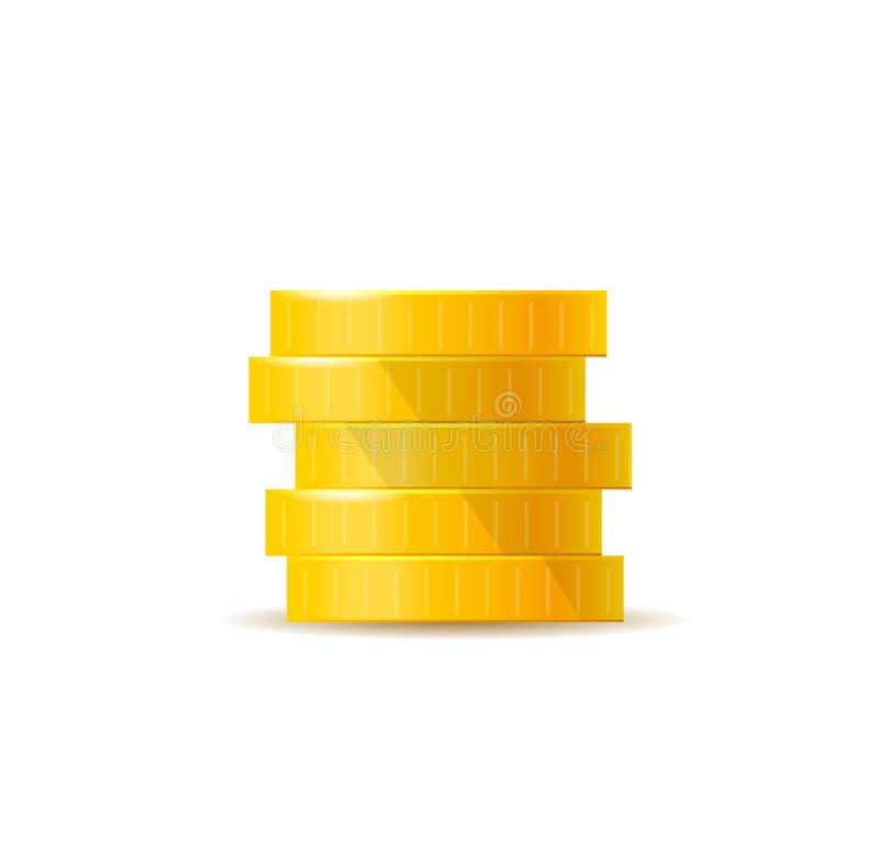 白色的3D真实金币 白人与金钱隔绝 矢量图 向量例证