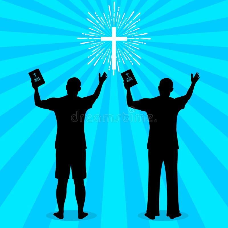 Sylwetka mężczyzna obracający bóg z modlitwą i cześć ilustracja wektor
