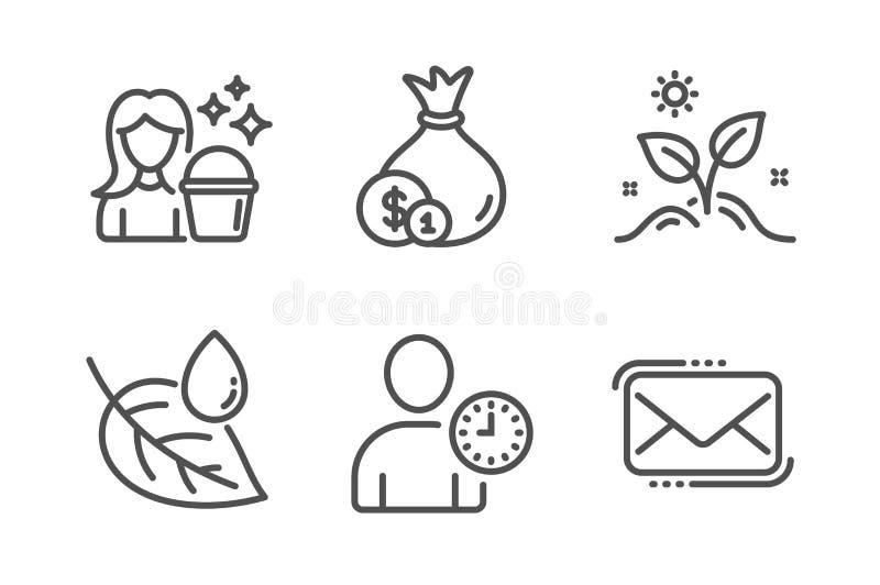 现金、增长工厂和时间管理图标集 叶露、清洁和Messenger邮件标志 矢量 皇族释放例证