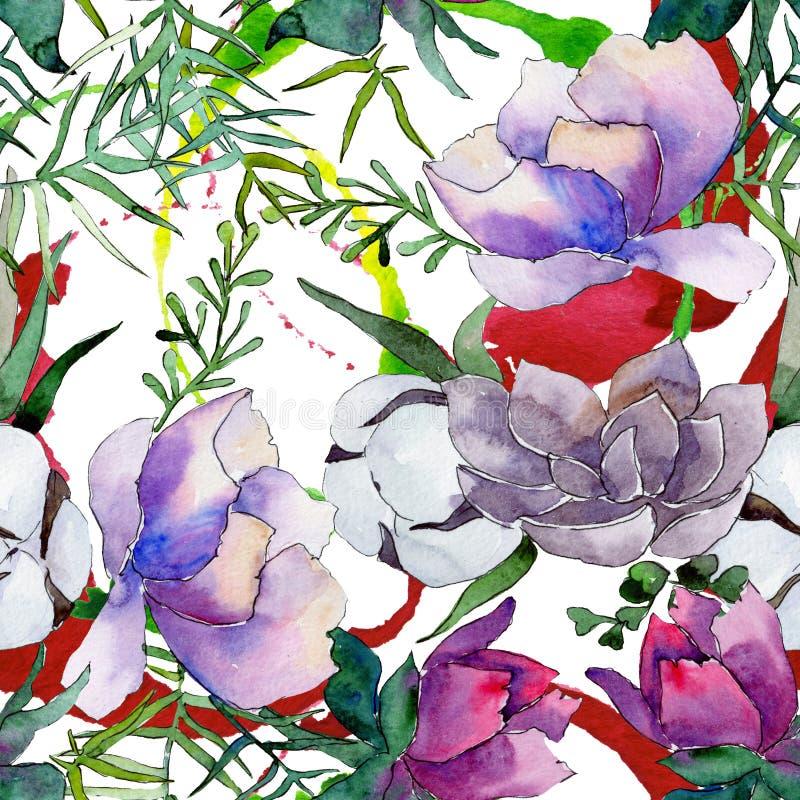 Букетские цветочные ботанические цветы Набор иллюстраций цвета воды Непрозрачный шаблон фона иллюстрация штока