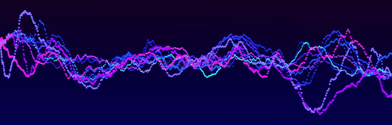Στοιχείο ήχου κυματομορφής Αφηρημένος μπλε ψηφιακός ισοσταθμιστής Μεγάλη απεικόνιση δεδομένων Δυναμική ροή φωτός απόδοση 3d ελεύθερη απεικόνιση δικαιώματος