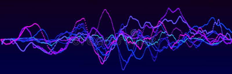 Στοιχείο ήχου κυματομορφής Αφηρημένος μπλε ψηφιακός ισοσταθμιστής Μεγάλη απεικόνιση δεδομένων Δυναμική ροή φωτός απόδοση 3d απεικόνιση αποθεμάτων