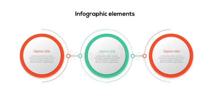 Инфографика бизнес-процесса с тремя ступенчатыми кругами. Круговые грРбесплатная иллюстрация