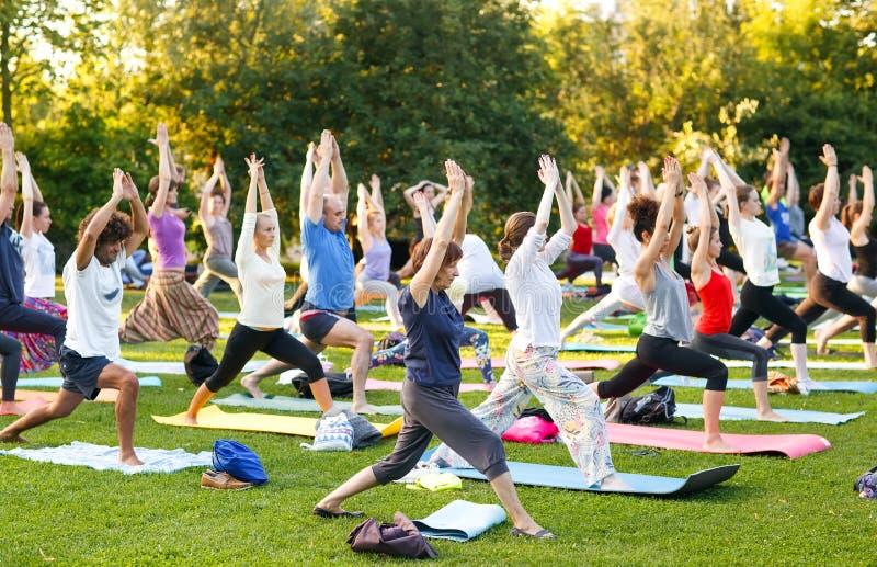 出席瑜伽班外部的大小组成人在公园 免版税库存图片