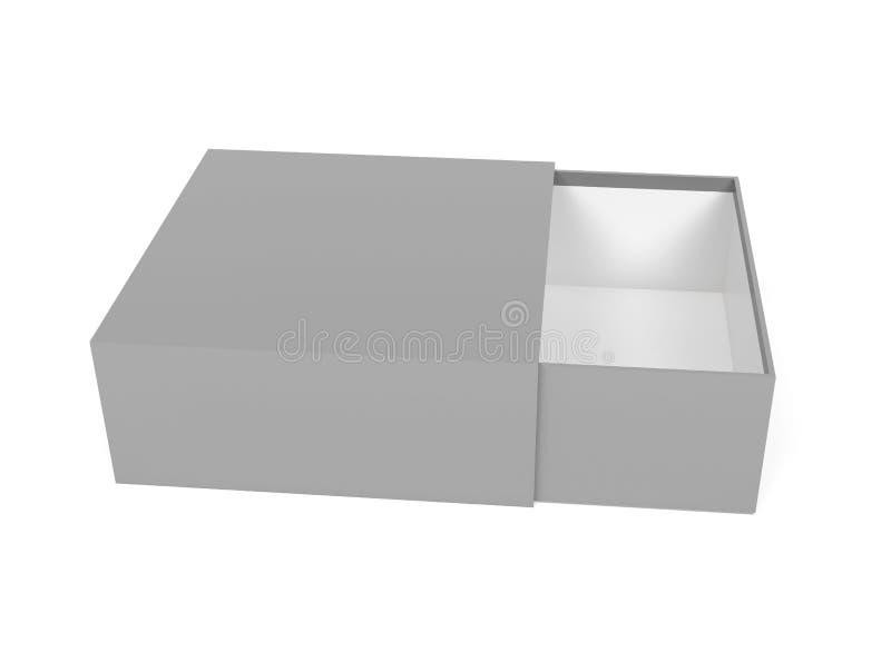 Schieberkasten Grauer leerer offener Kastenspott oben Abbildung der Wiedergabe 3d lizenzfreie abbildung