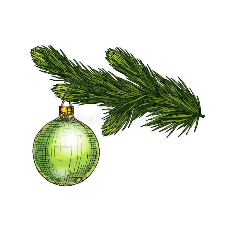 Un albero di fiori con giocattolo per il Capodanno e auguri di Buon Natale Decorazione di natale sul ramoscello di pino Spruce co illustrazione vettoriale
