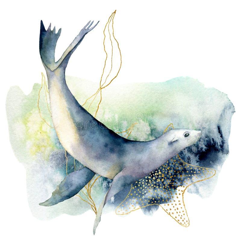 Leone marino dell'acquerello e composizione nell'alga Illustrazione subacquea dipinta a mano isolata su fondo bianco acquatico royalty illustrazione gratis