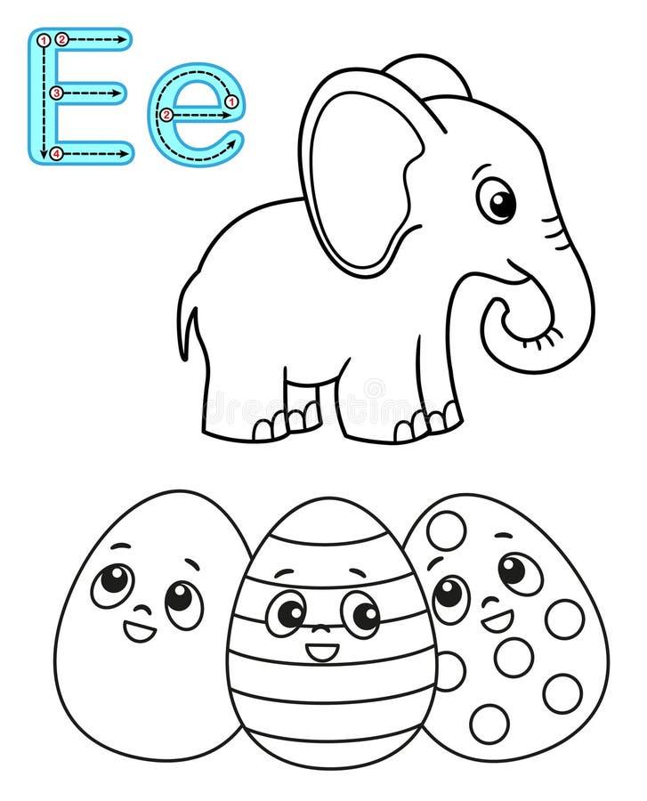 E r Alfabet f?r vektorf?rgl?ggningbok M?rka E Elefant stock illustrationer