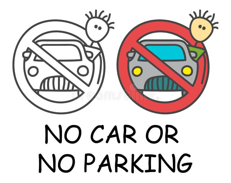 Uomo divertente del bastone di vettore con un'automobile nello stile dei bambini Nessun'auto nessuna proibizione rossa del segno  royalty illustrazione gratis