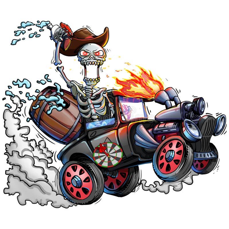Squelette et voiture Détachement du crâne et du camion OEuvre d'art Portrait Vintage illustration de vecteur