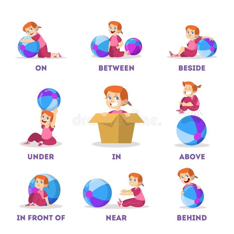 Unge- och bolluppsättning Lära prepositionbegrepp ballerina little vektor illustrationer