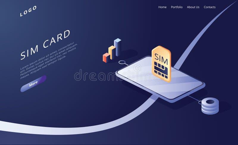 Concepto de tarjeta SIM en ilustración vectorial isométrica Red móvil con tecnología de microchips de tamaño Banner web stock de ilustración