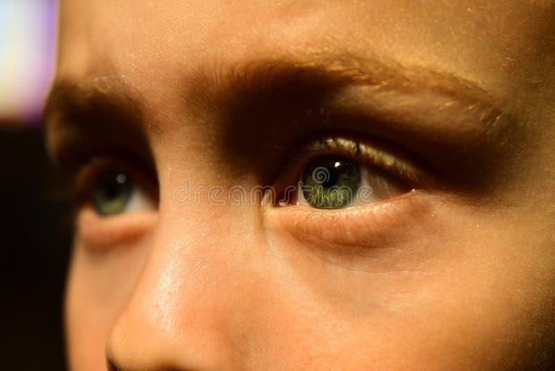 Om det var min dåliga syn Liten pojke med dålig hälsa Barnomsorg Ögontest vid kontakt med oculist Small boy fotografering för bildbyråer