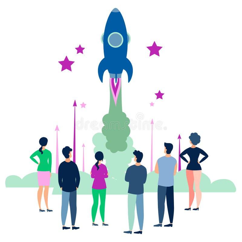 Mensen kijken naar de start van een ruimteraket Vlak in minimalistische stijl Cartoon vector illustratie