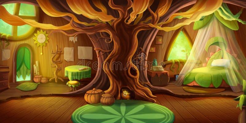 Fairy Tale Cottage Interior Bakgrund för bildtexter Begreppet konst stock illustrationer